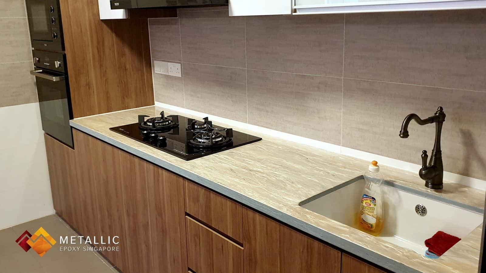 Rose Gold Wood Design Countertop