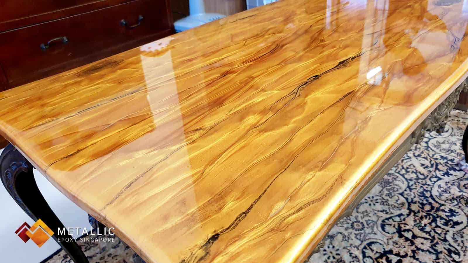 Black Highlights on Orange Gold Base Tabletop