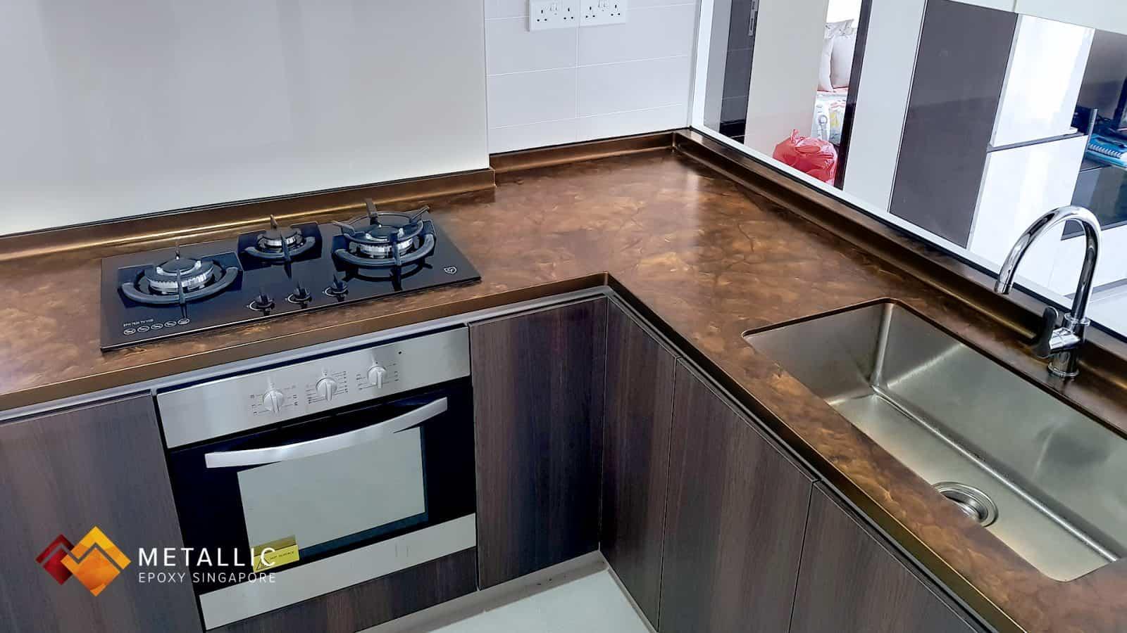 Orange Gold on Coffee Base Countertop
