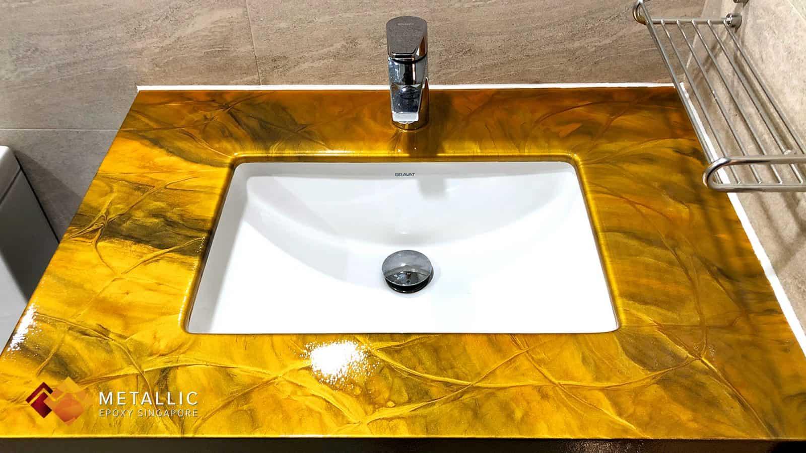 Vanity Top Orange Gold on Coffee Base
