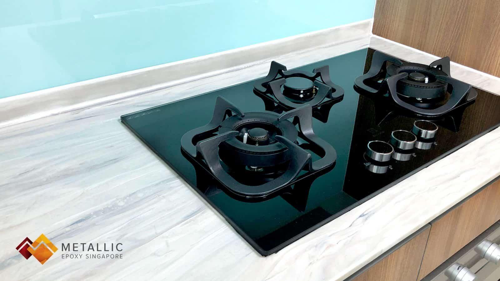 Black Highlights on Light Brown Wood Design Countertop
