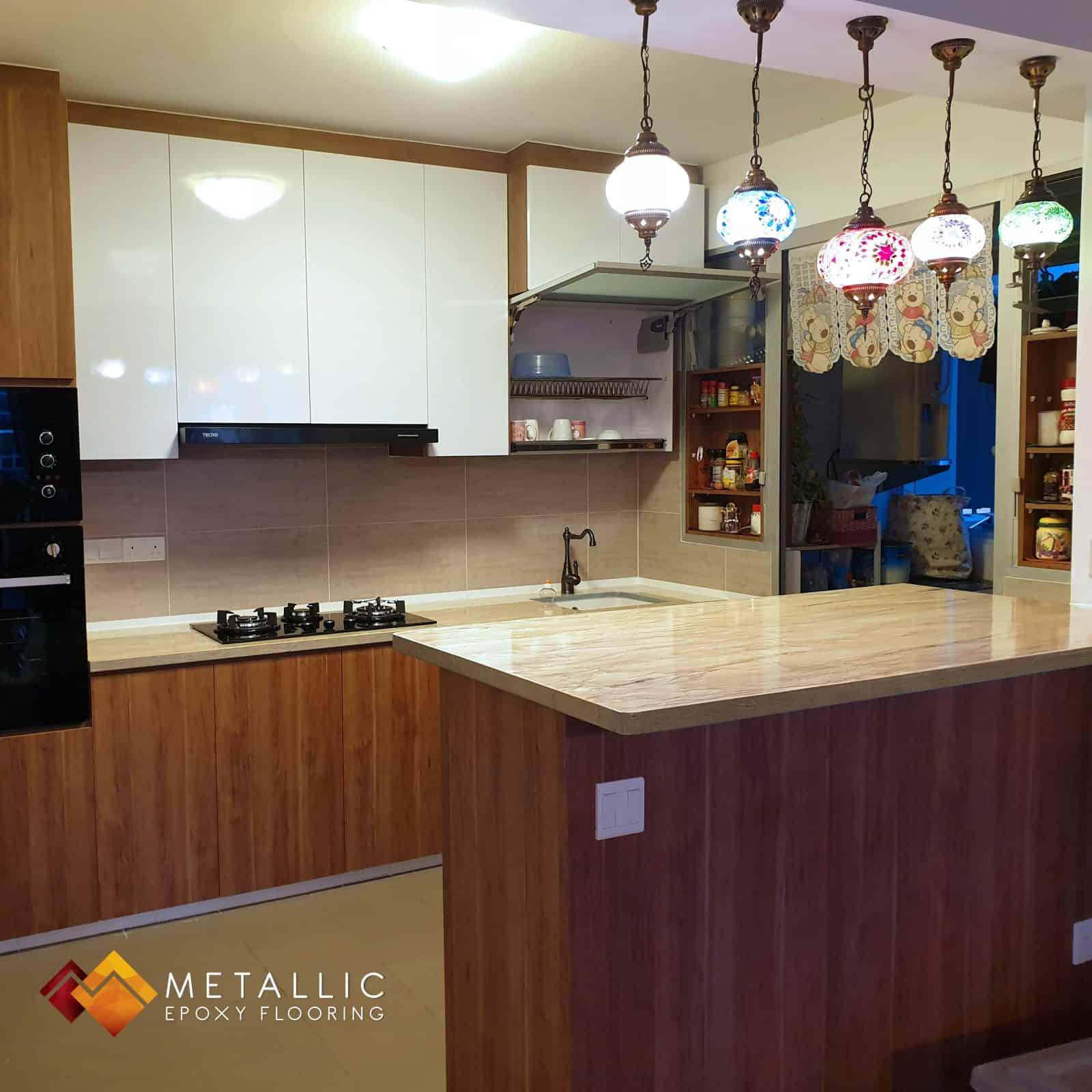 Wood metallic epoxy singapore countertop