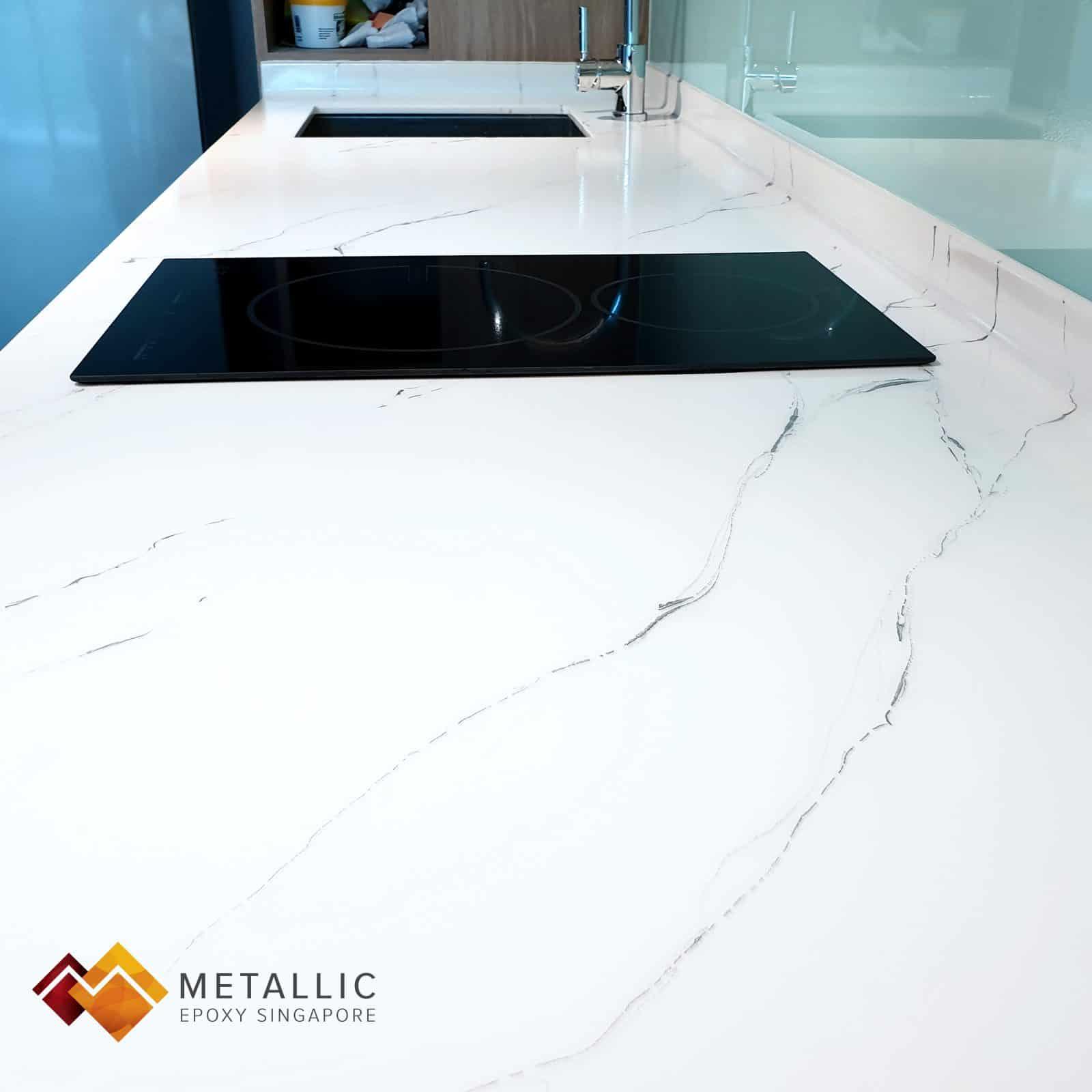 white metallic epoxy singapore countertop