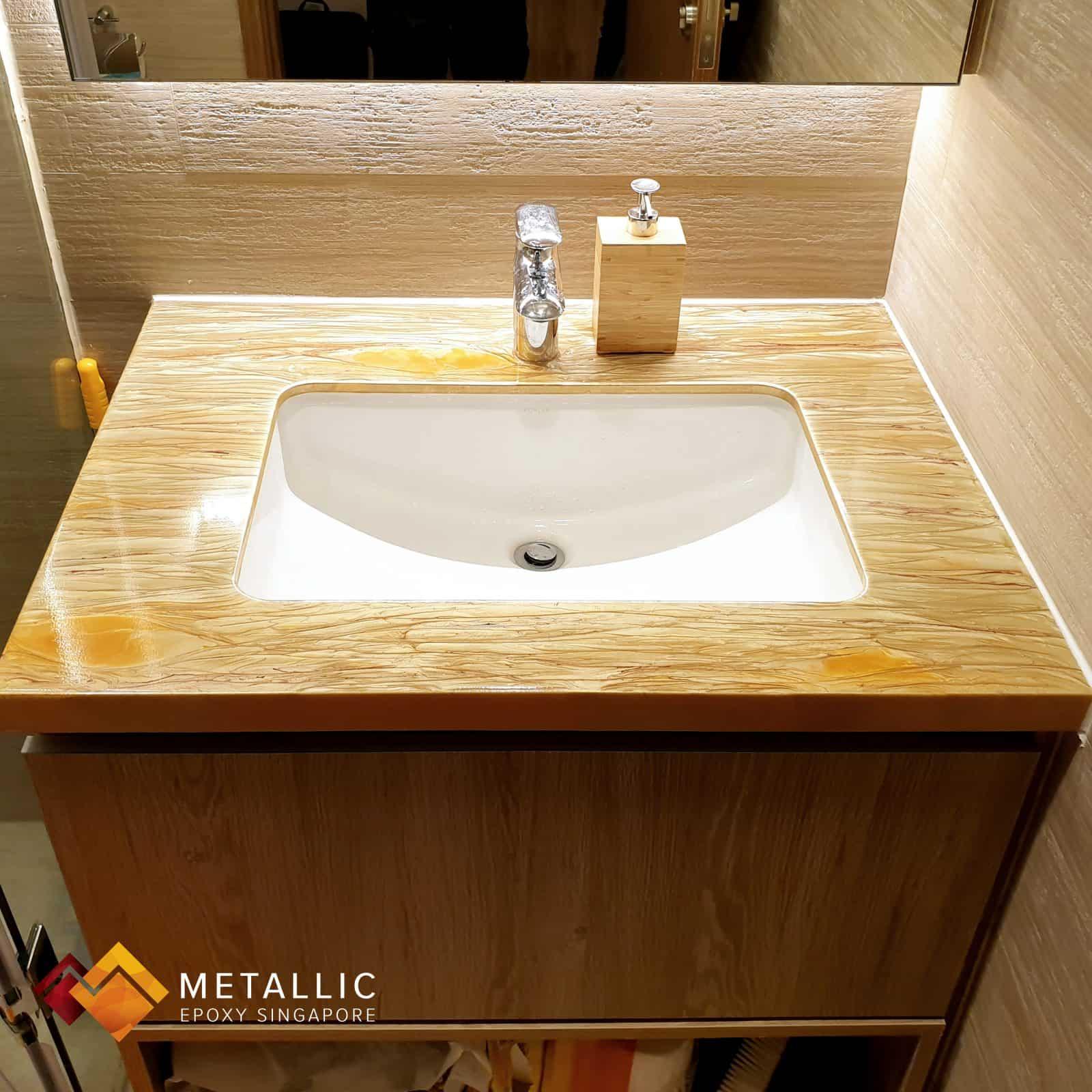 Wood metallic epoxy singapore vanity top