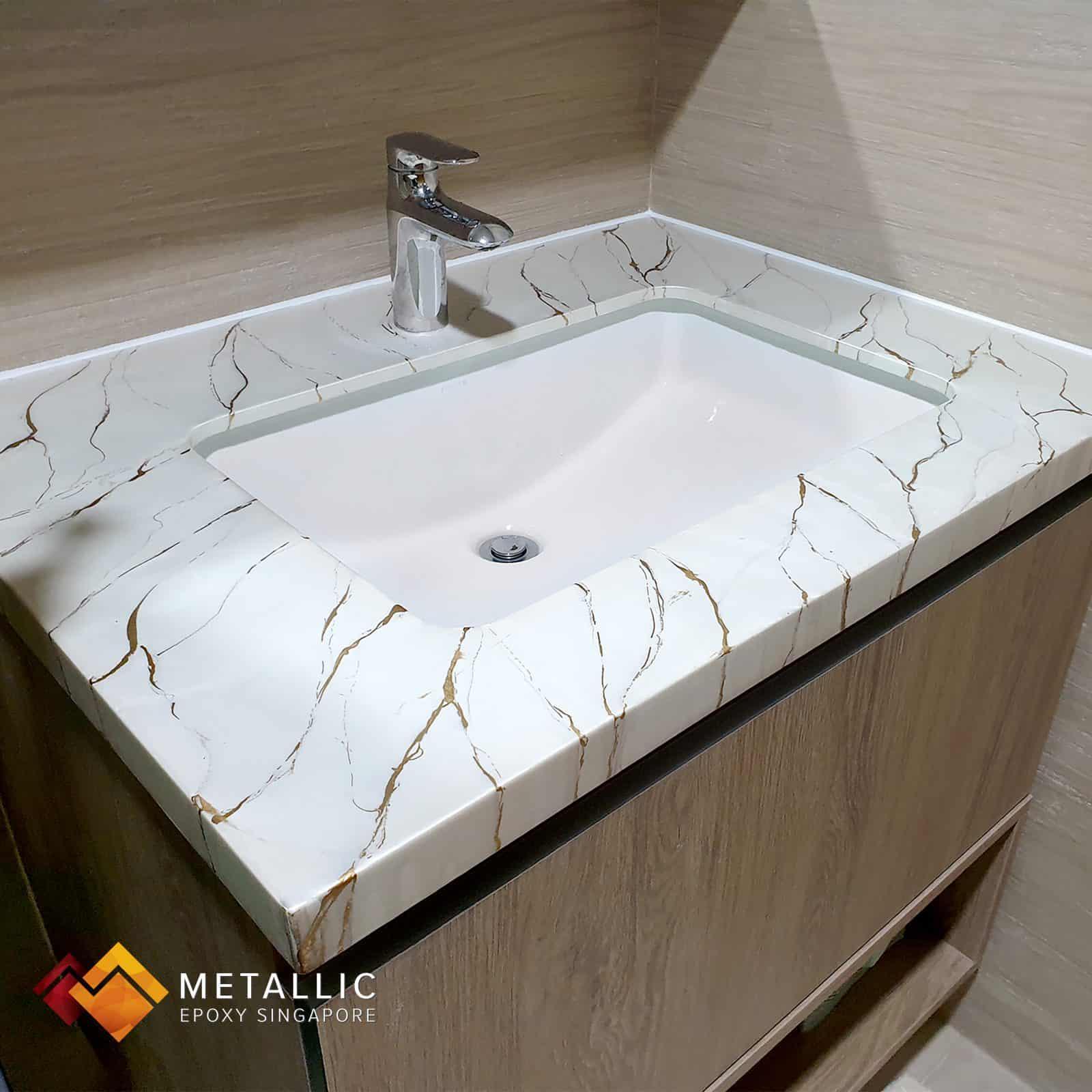 white metallic epoxy singapore vanity top