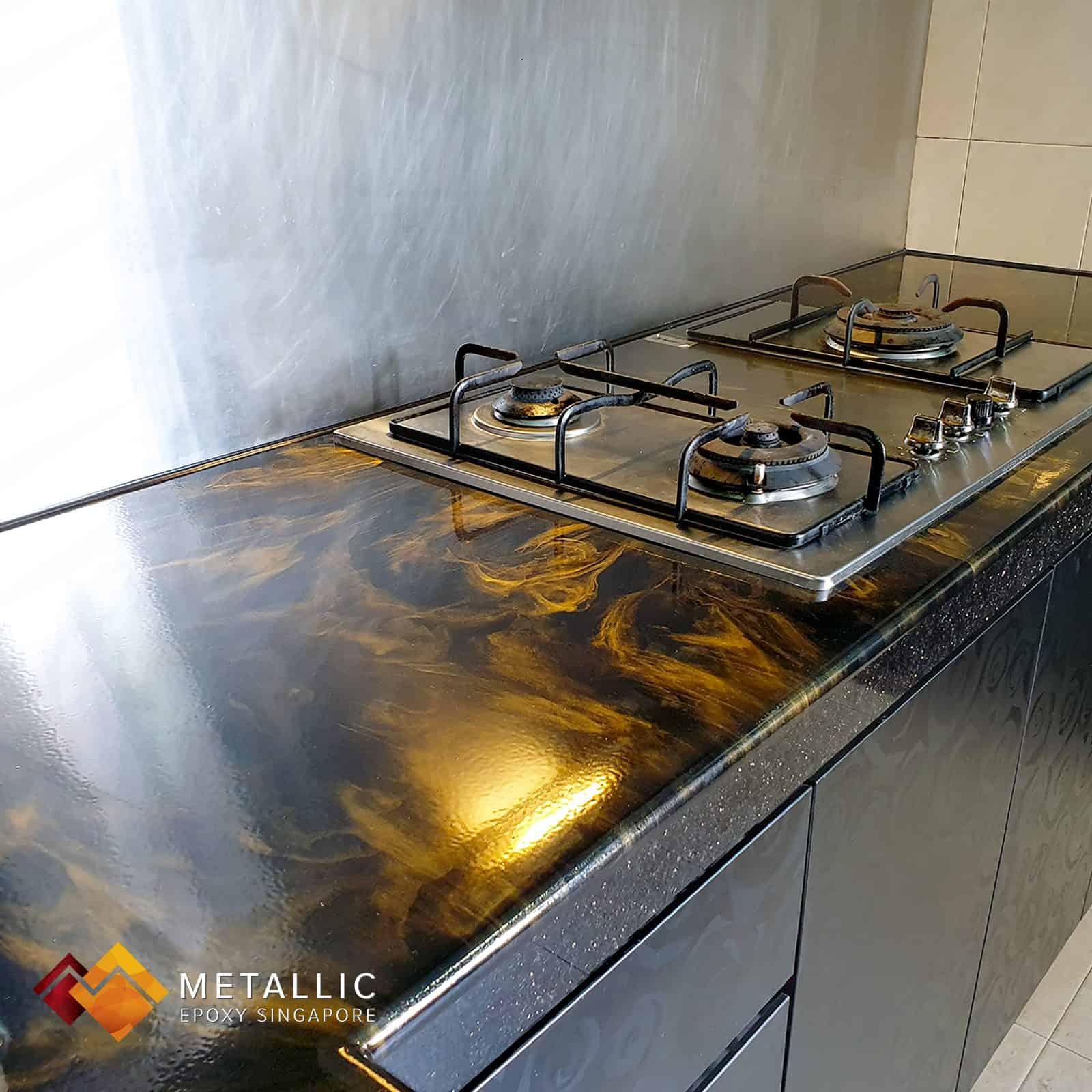 Black metallic epoxy singapore countertop