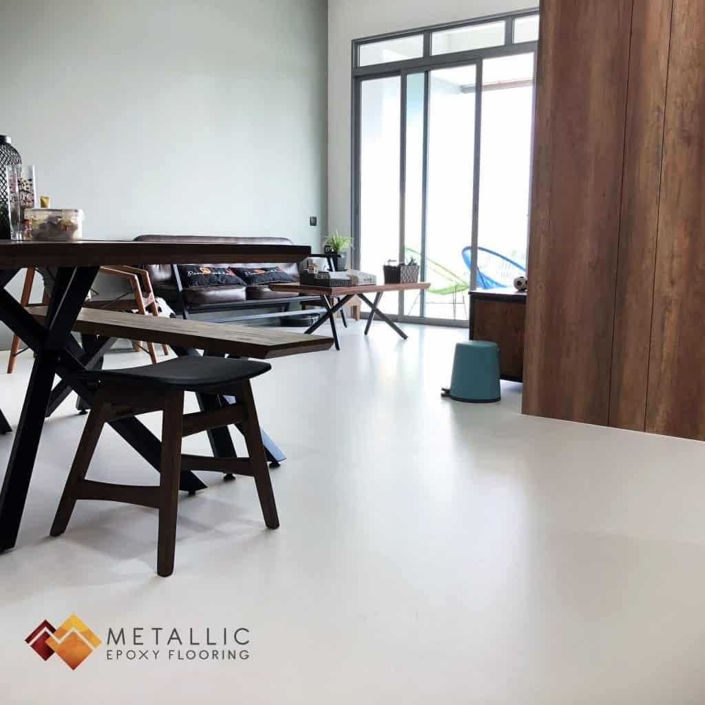 white metallic epoxy singapore flooring