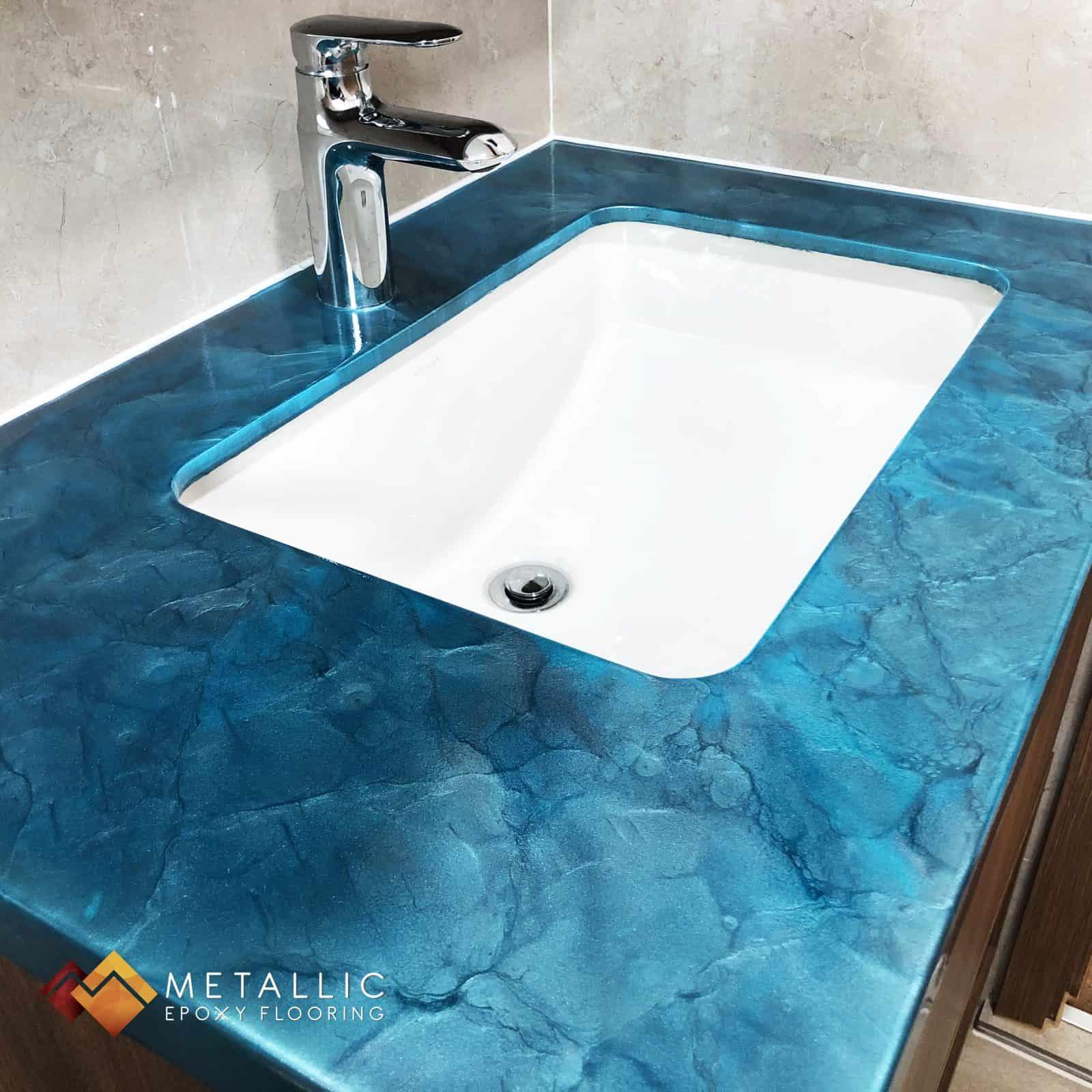 Blue metallic epoxy singapore vanity top
