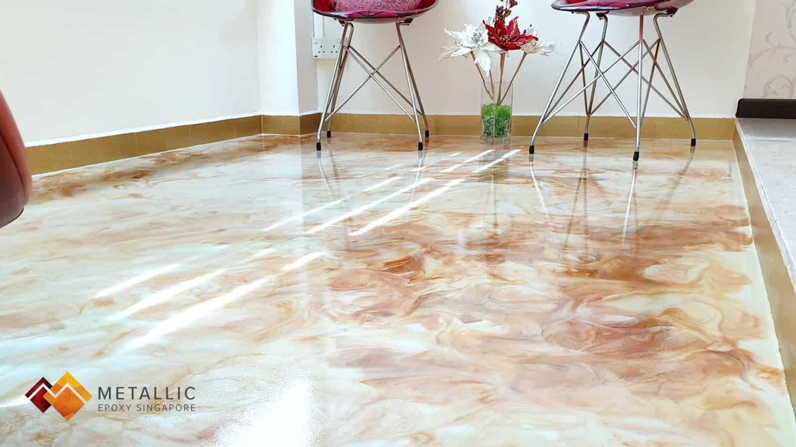 Orange Gold Swirls Snow White Balcony Floor