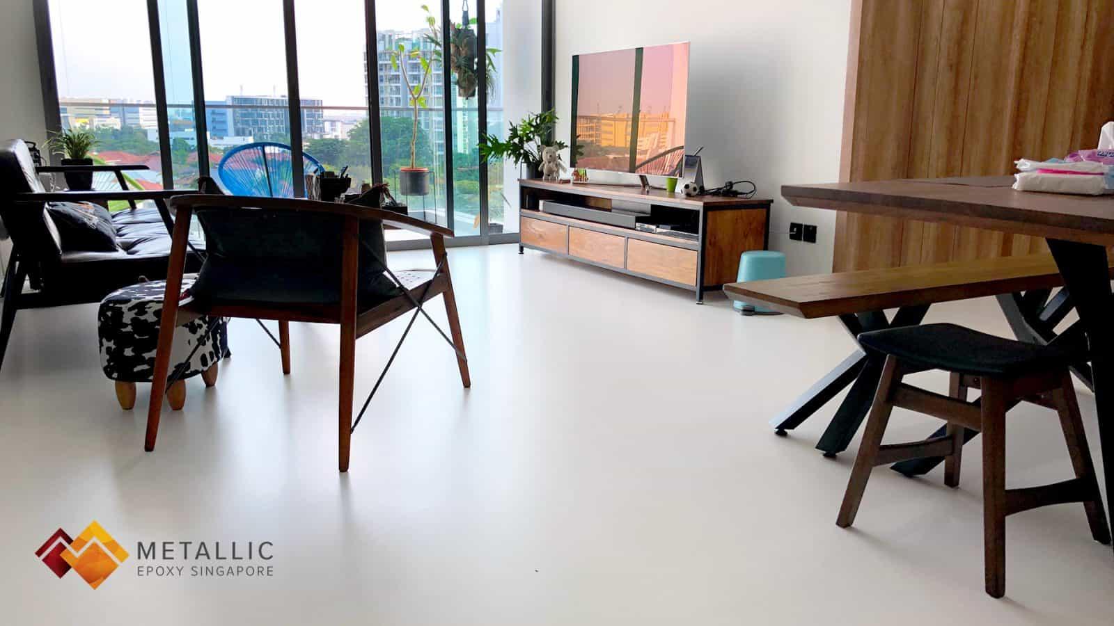 metallic epoxy singapore marble theme floor coated living room