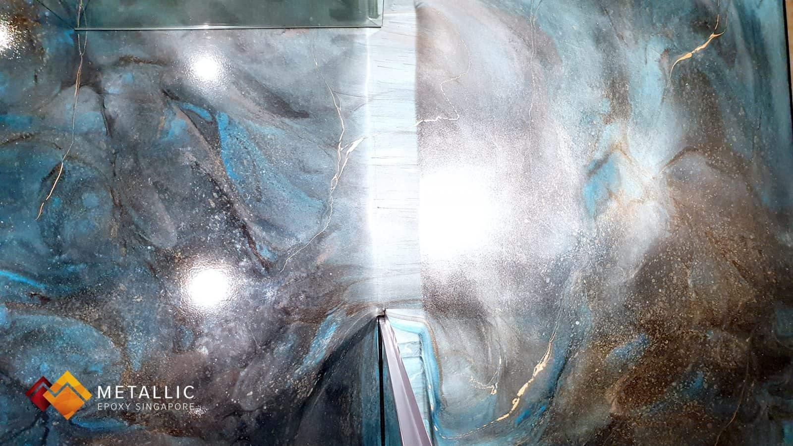 Blue Galaxy Theme Bathroom Floor