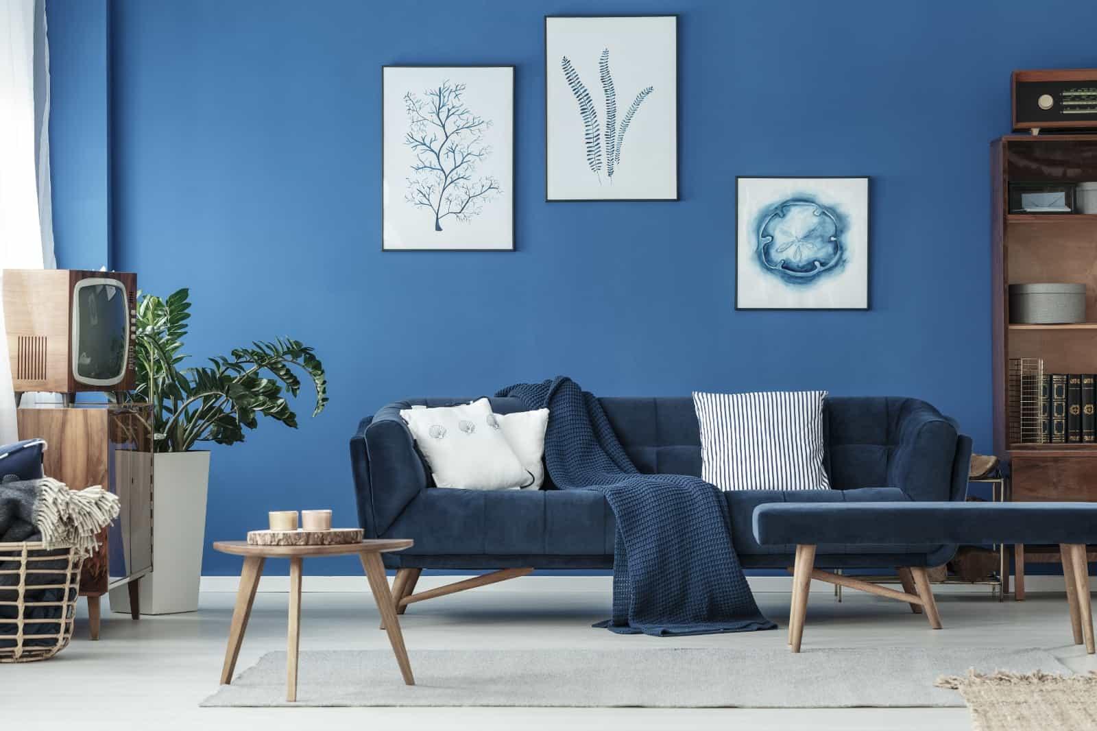 blue theme living room