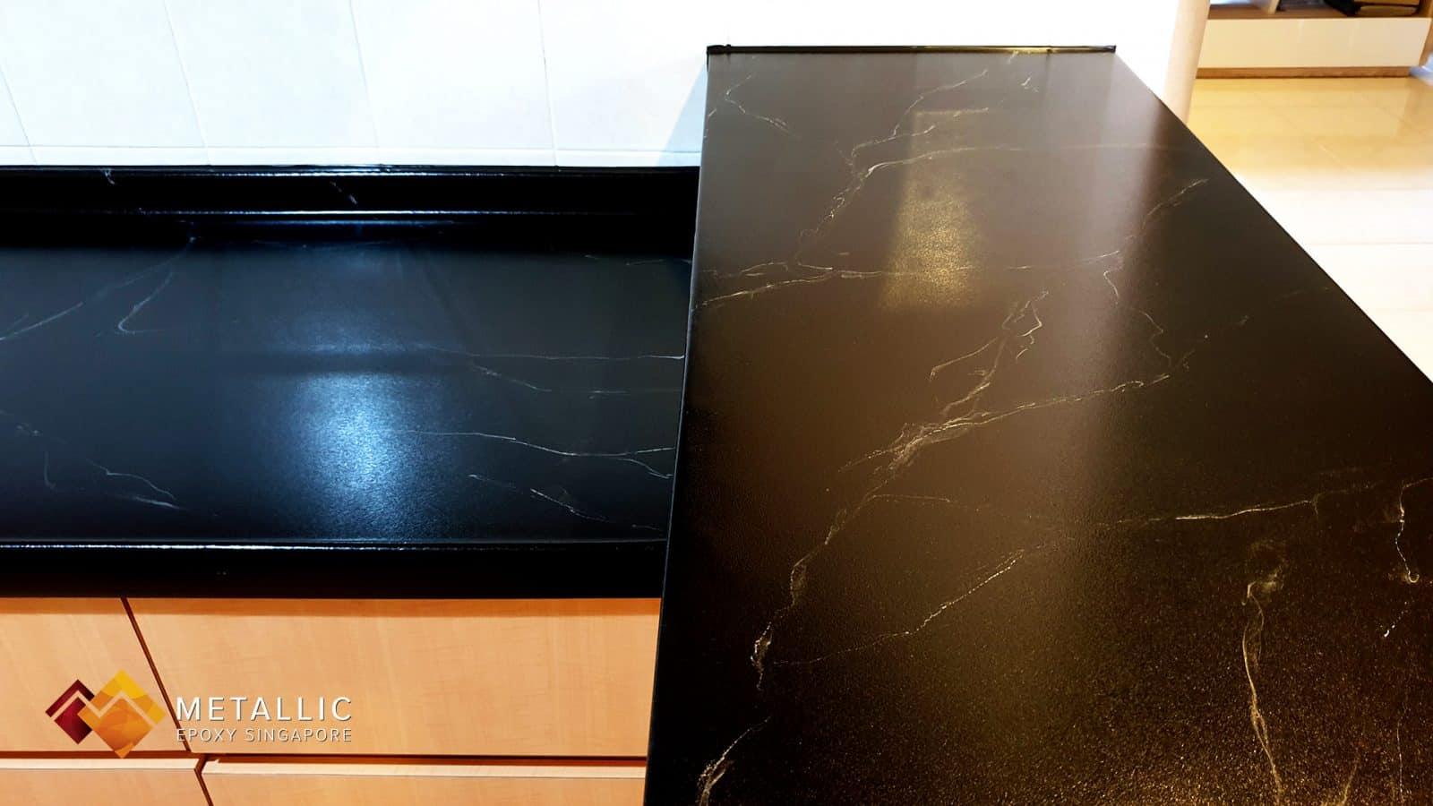 Silver Veins on Black countertop