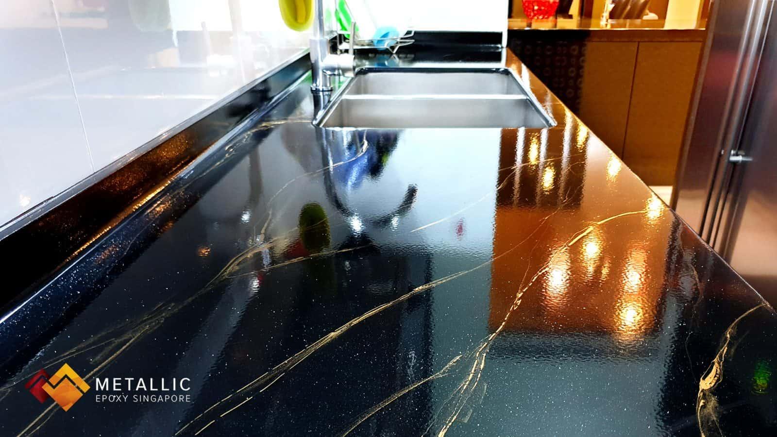 Gold Black Marble Kitchen Countertop