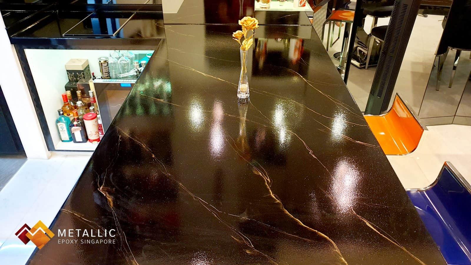 Gold Black Marble Bar Countertop