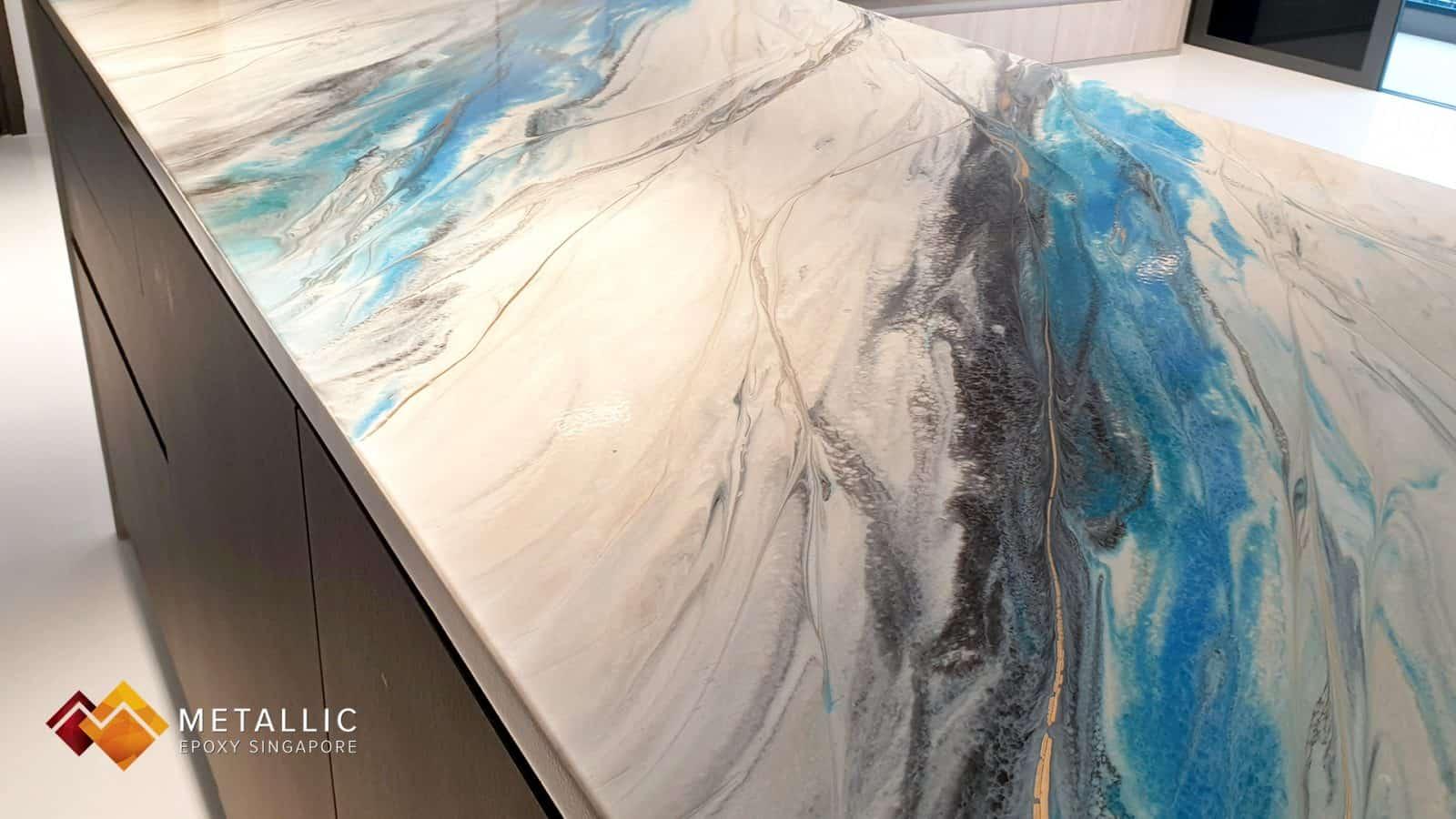 Metallic Epoxy Turquoise Mixed Kitchen Countertop
