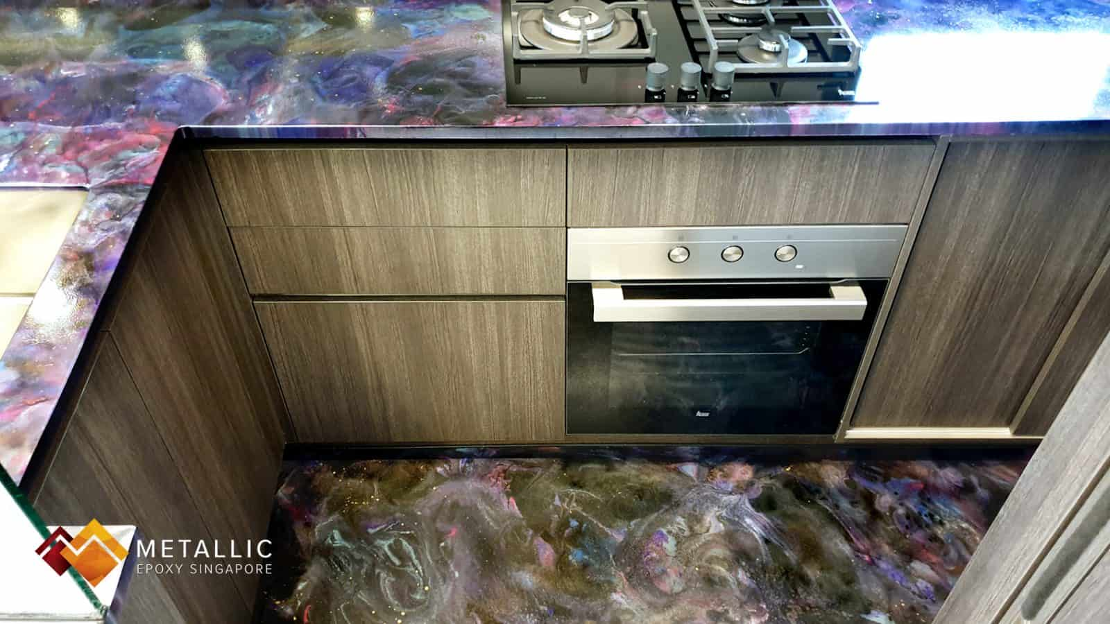 pink galaxy kitchen countertop floor