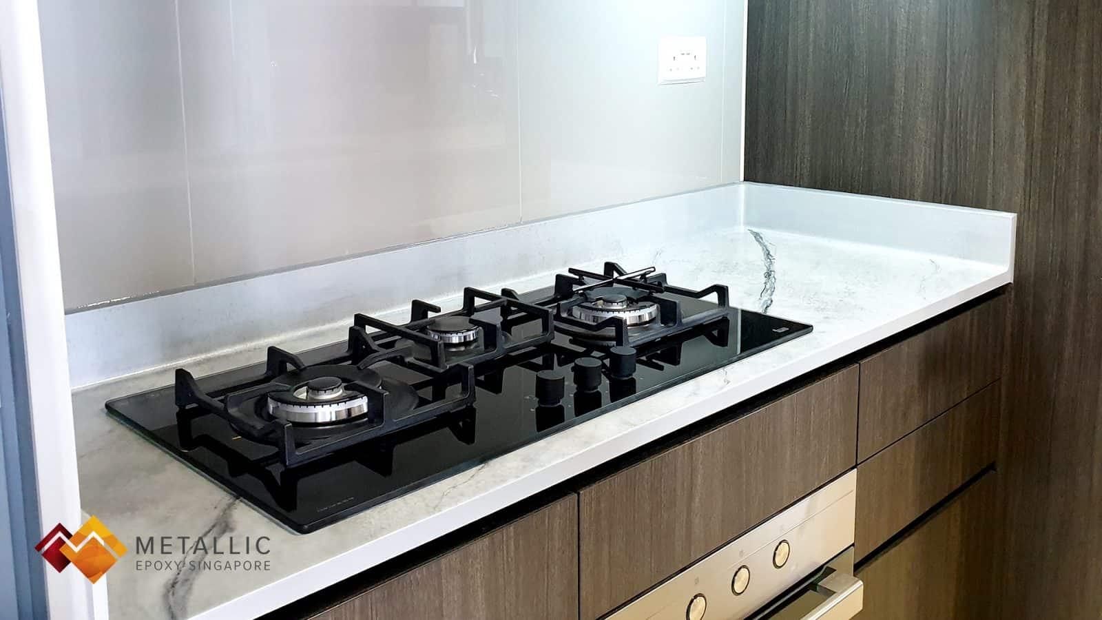 grey marble epoxy kitchen countertop