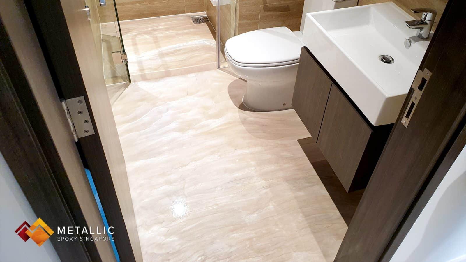 Metallic Epoxy Light Brown Wood Bathroom Floor