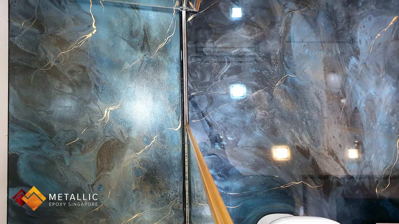 Gloss and Matte Galaxy Design Bathroom Floor