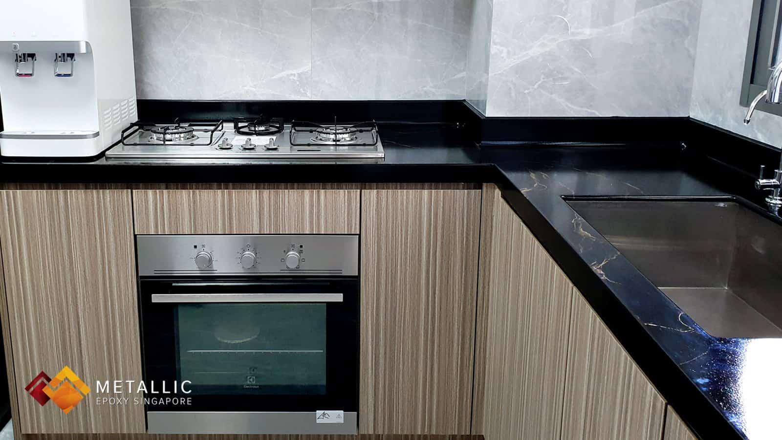 Gold on Black Metallic Epoxy Kitchen Countertop