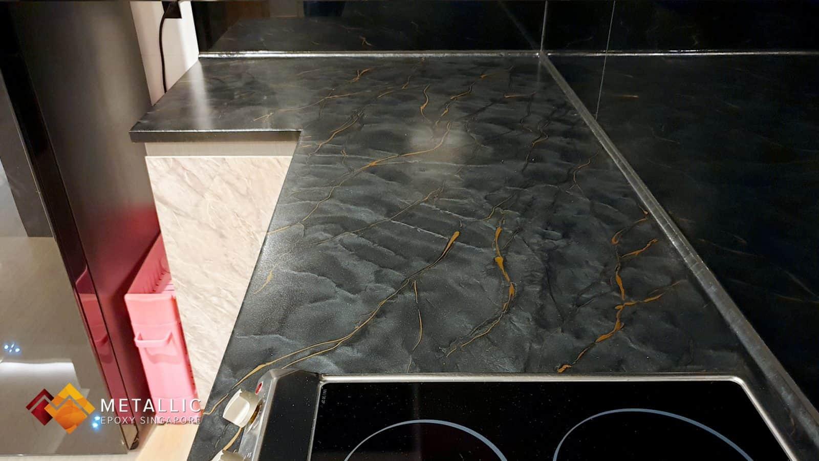Metallic Black Marble Kitchen Countertop
