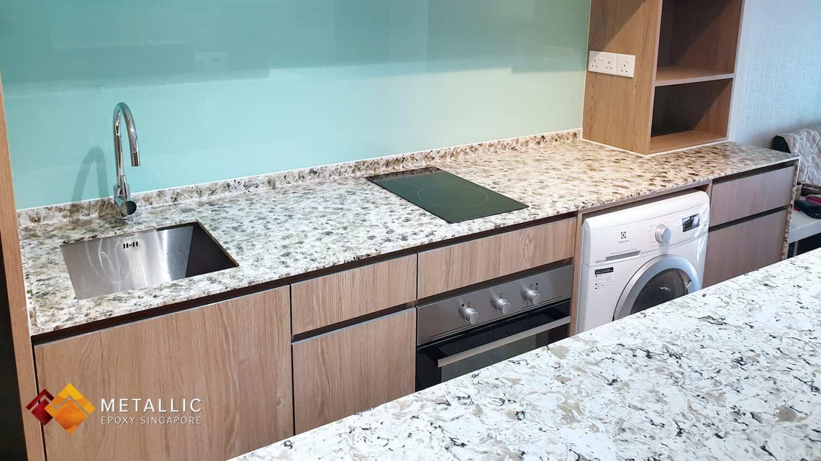 Metallic Epoxy Granite Kitchen Countertop