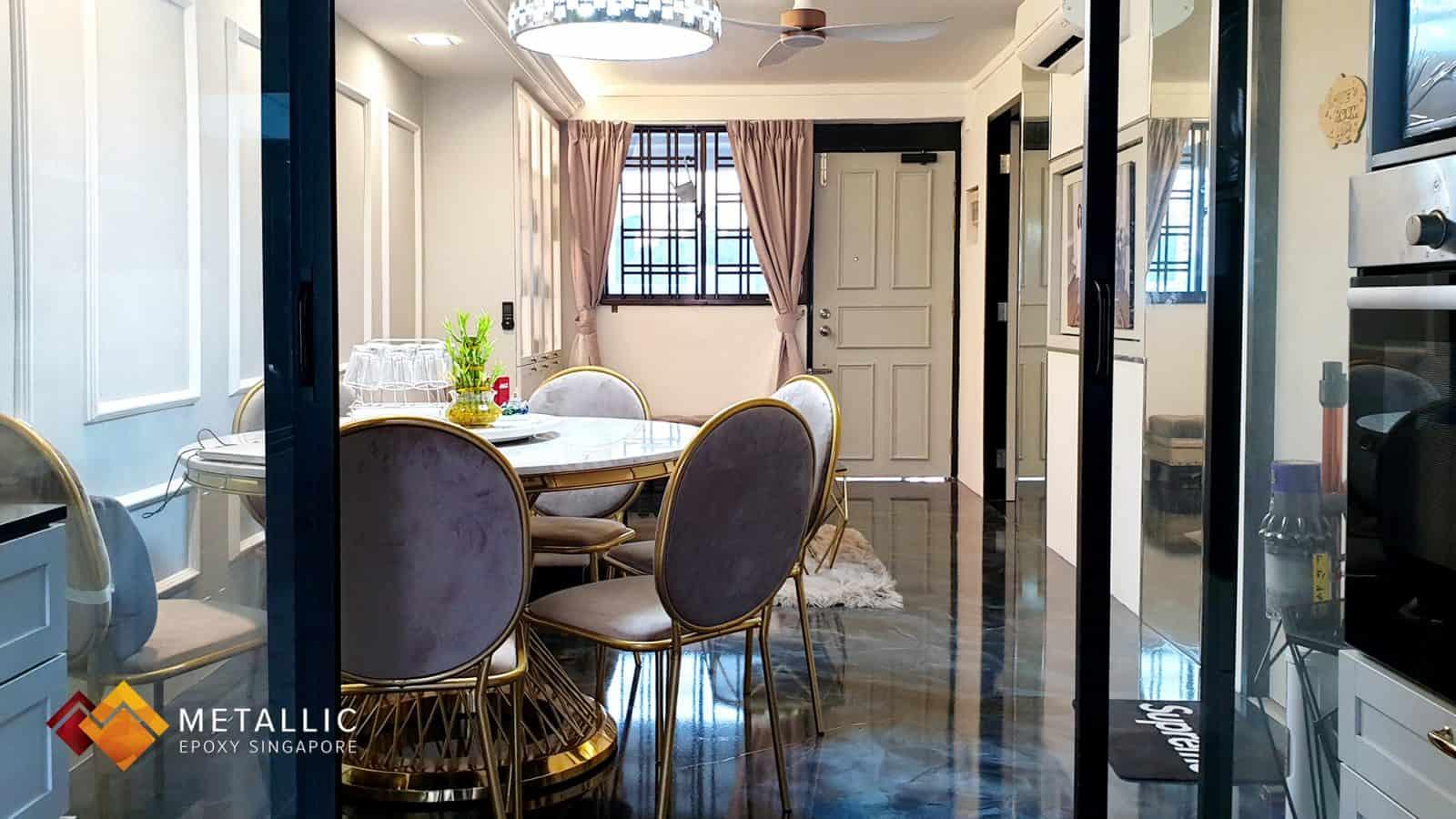 Blue Galaxy Living Room Floor
