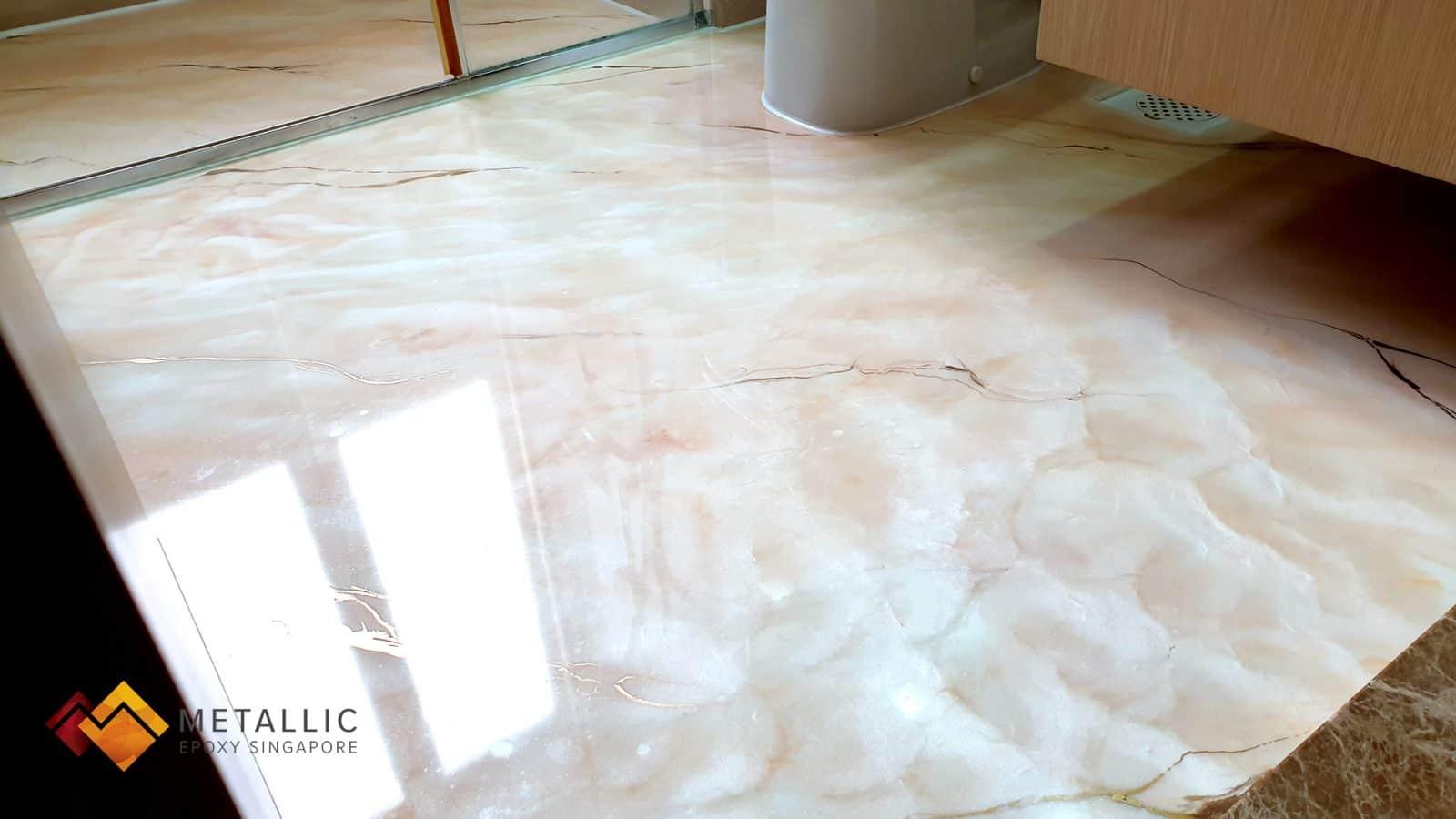 Orange Gold on Snow White Bathroom Floor