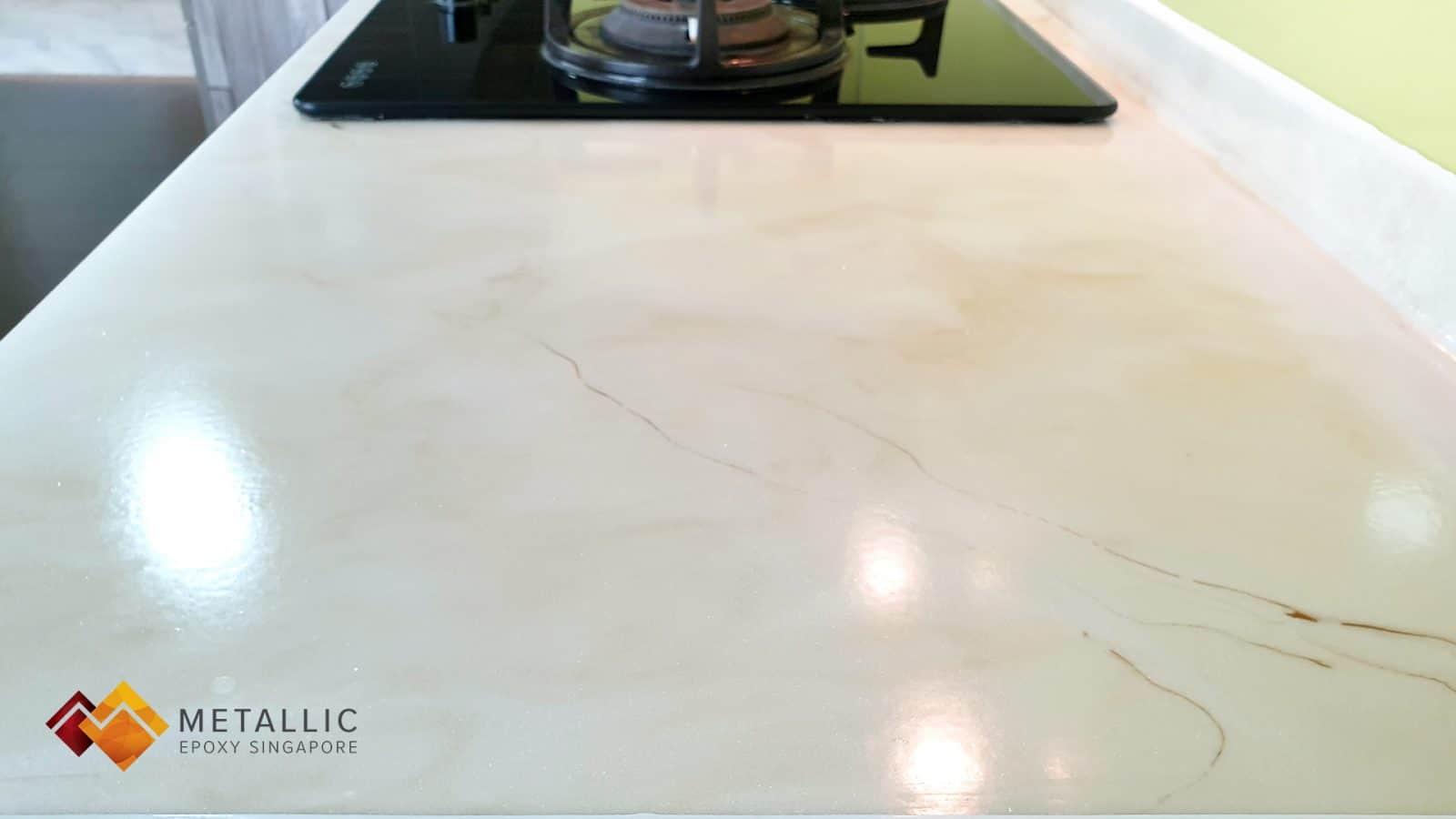Gold Veins Light Khaki Kitchen Countertop