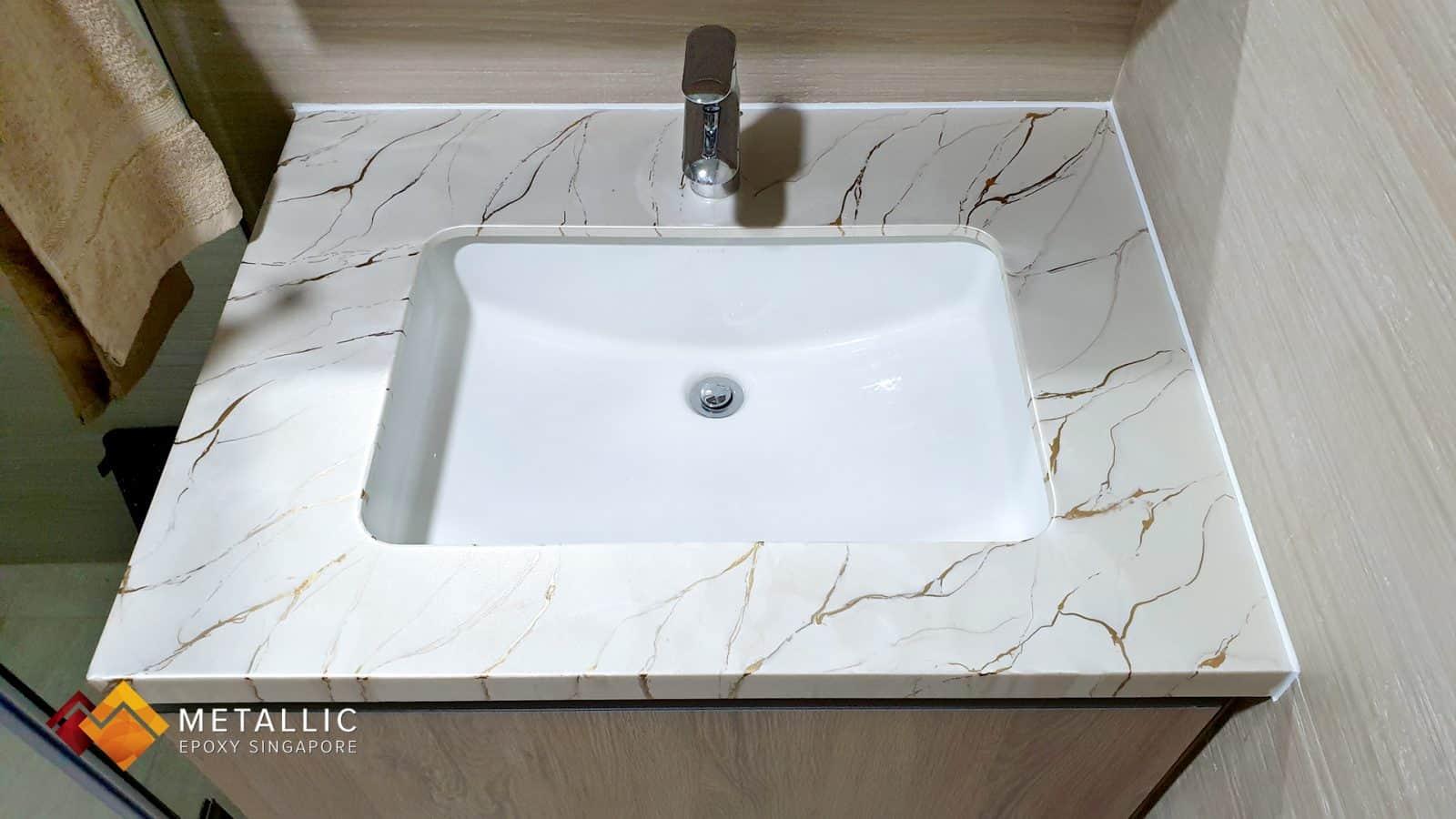 Metallic Epoxy Vanity Top Gold on Light Khaki Marble