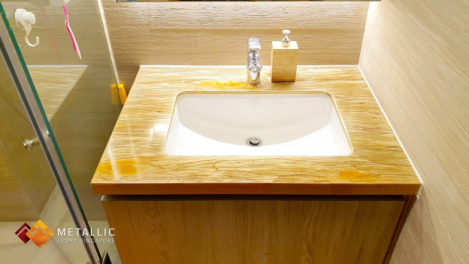 Gold on Khaki Wood Theme Vanity Top