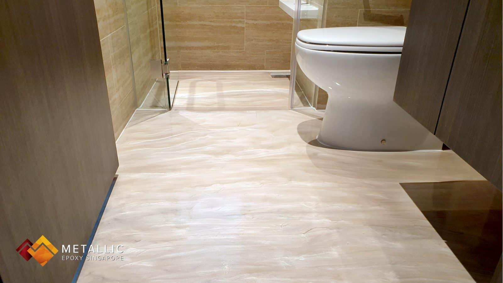 metallic epoxy wood bathroom floor