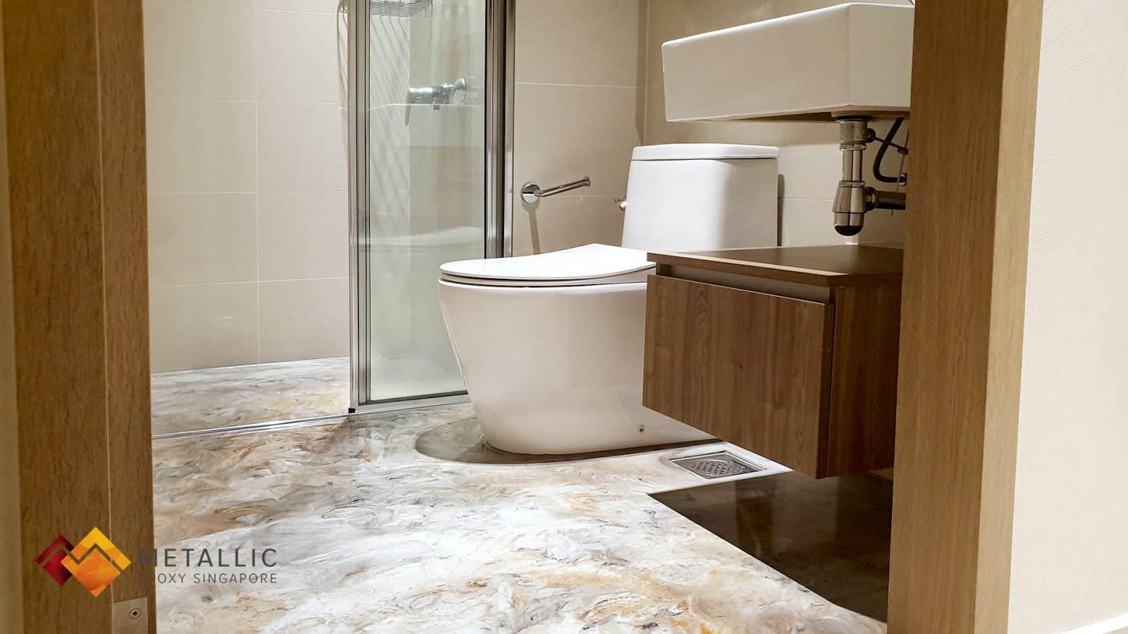 metallic epoxy bathroom floor stone