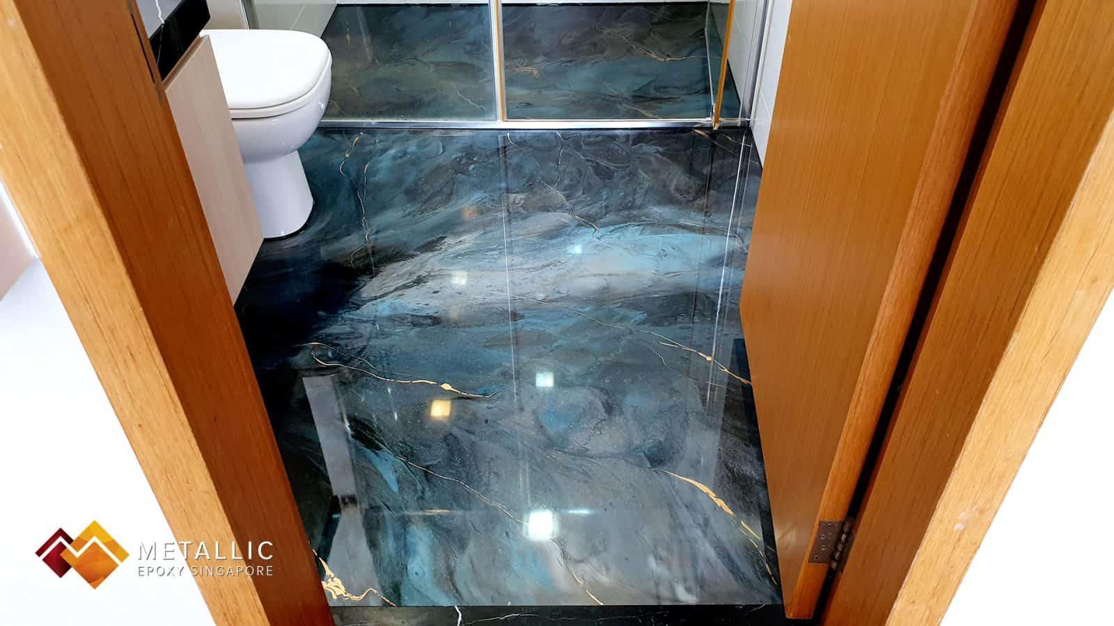 metallic epoxy bathroom floor galaxy