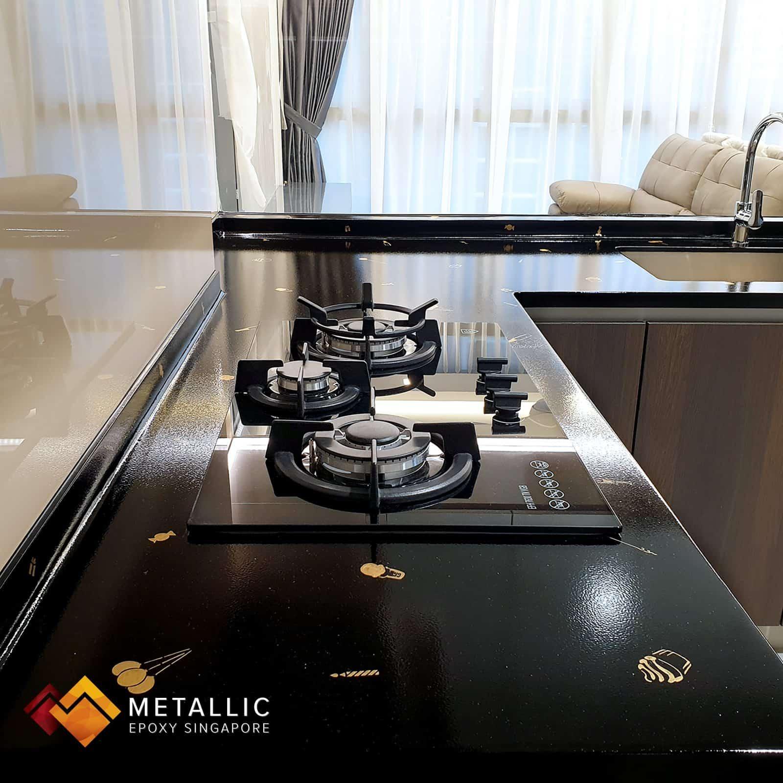 metallic epoxy black countertop gold stickers