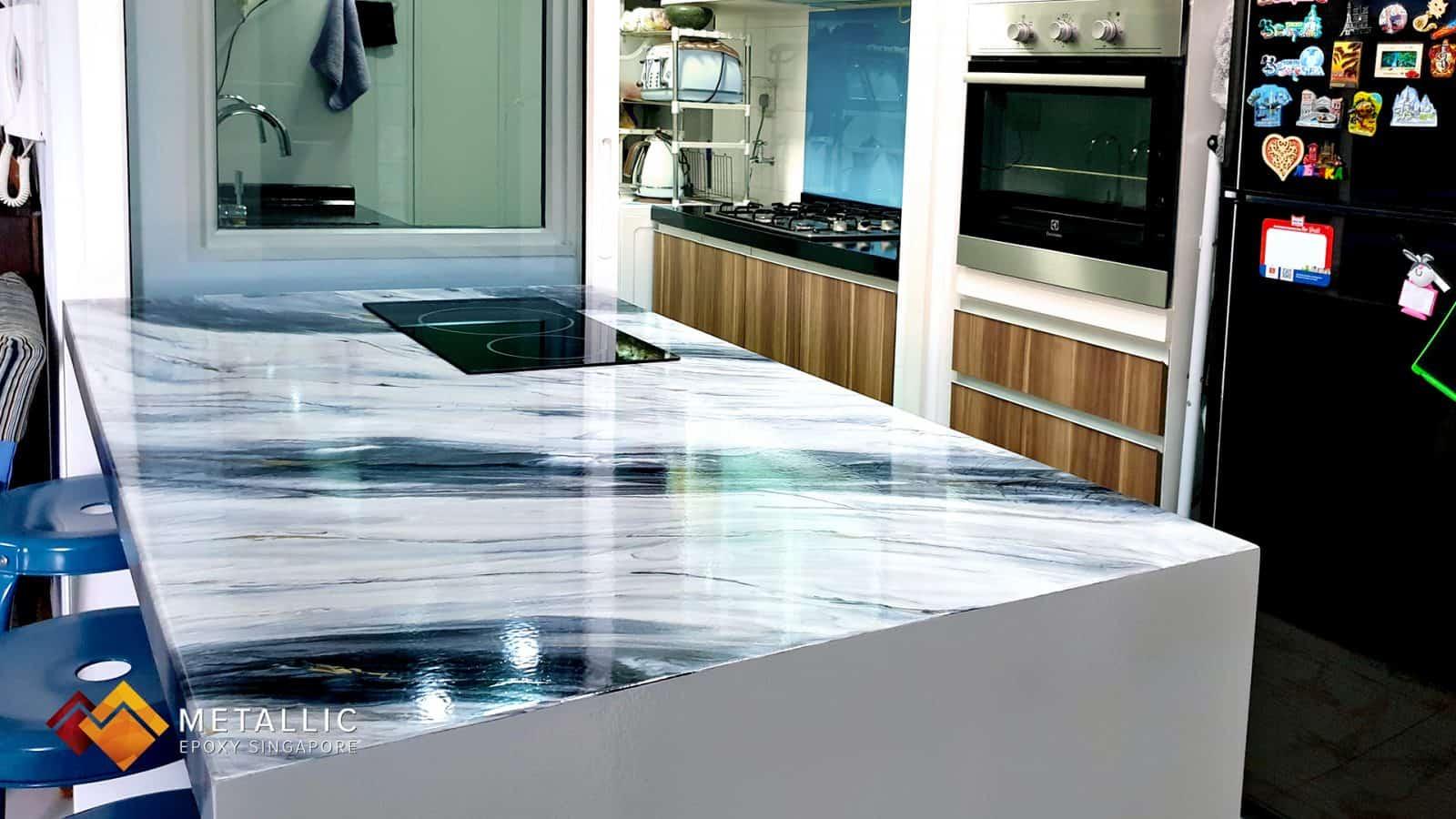 epoxy coated black silver countertop