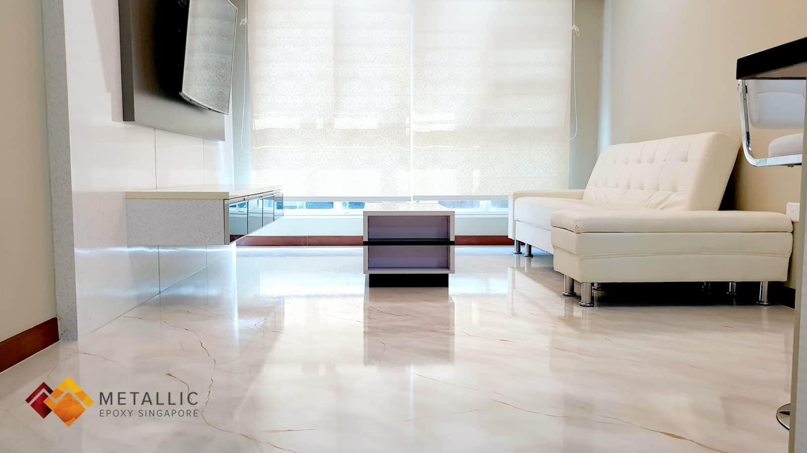 khaki metallic epoxy living room floor