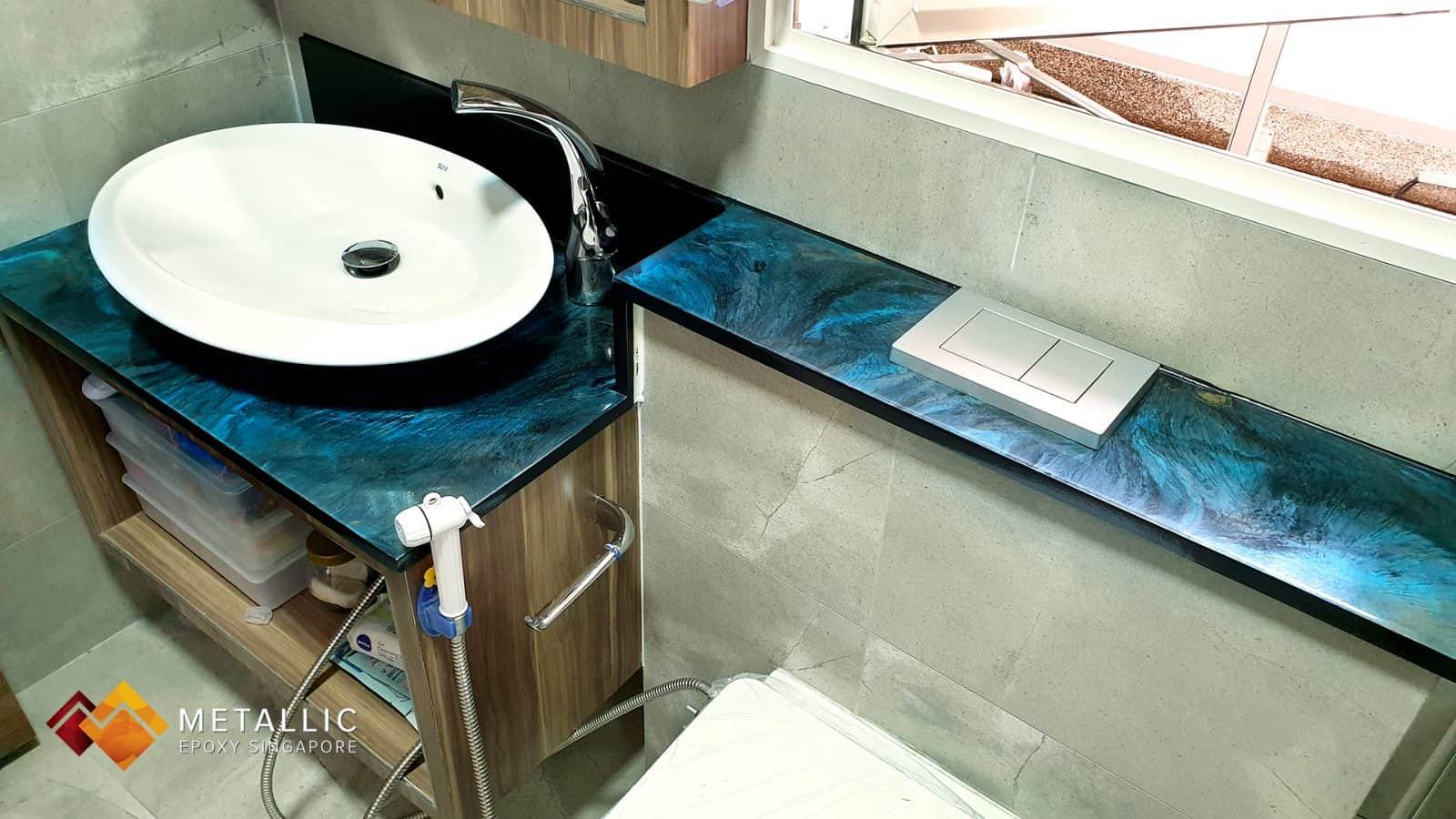 metallic epoxy blue galaxy vanity top bathroom