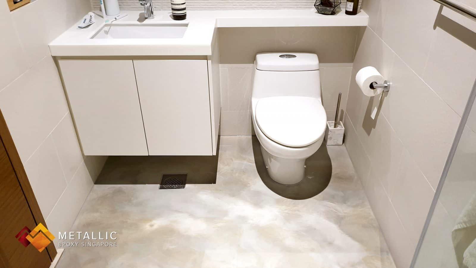 Metallic Epoxy Concrete Bathroom Floor