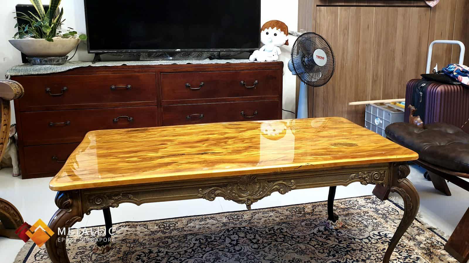 metallic epoxy coffee table