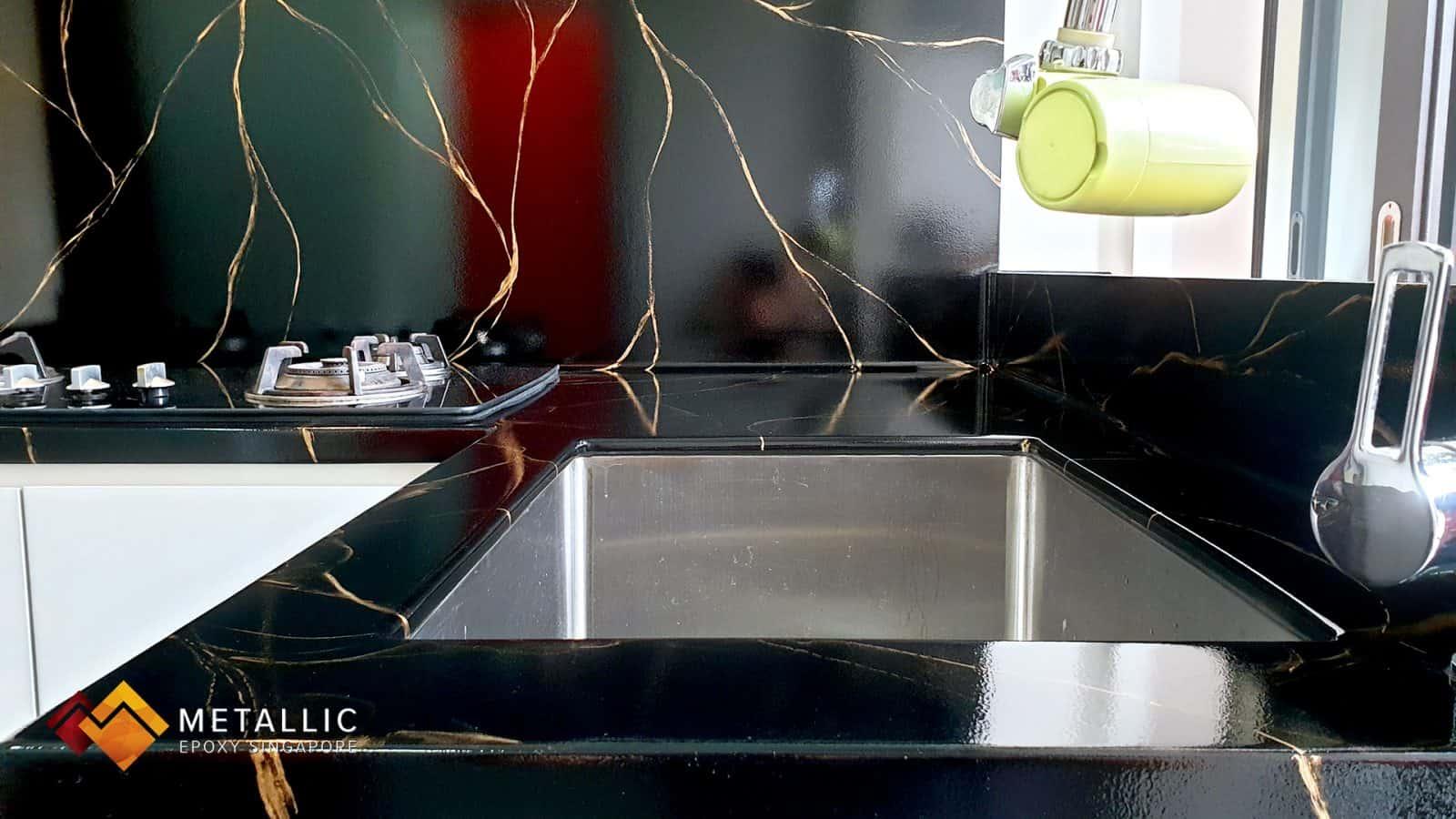 Metallic Epoxy Kitchen Countertop Gold Veins Black Marble