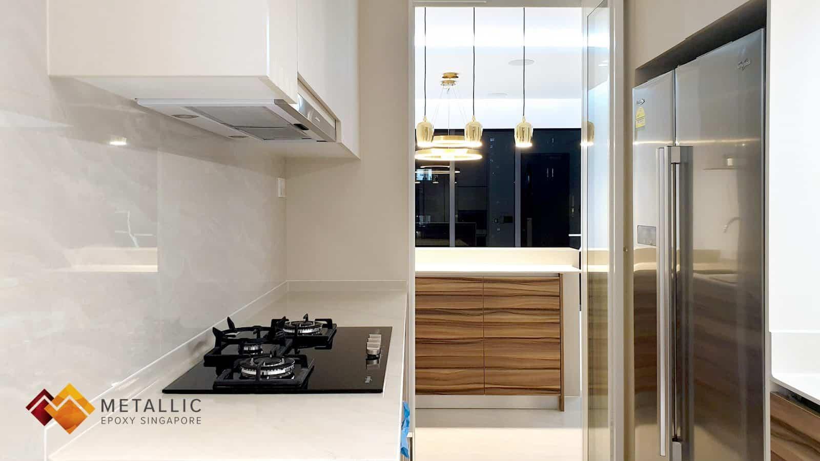 Light Khaki Orange Gold Metallic Epoxy Kitchen Countertop