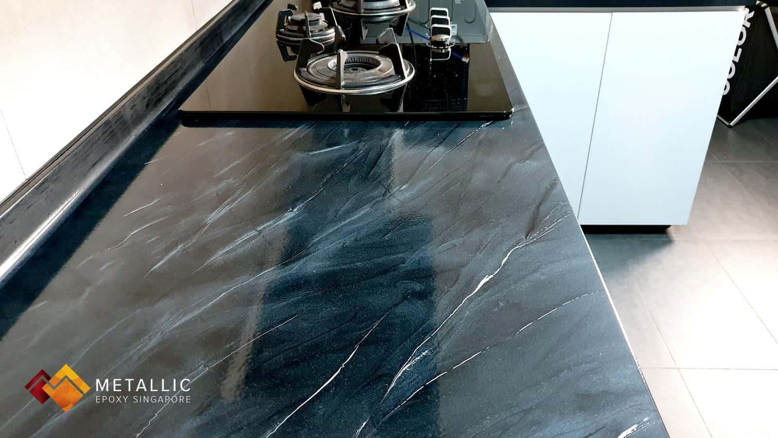 metallic epoxy grey kitchen countertop