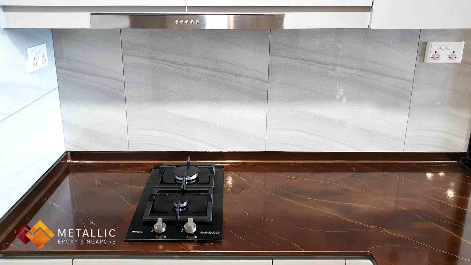 Metallic Epoxy Coffee Gold Marble Kitchen Countertop
