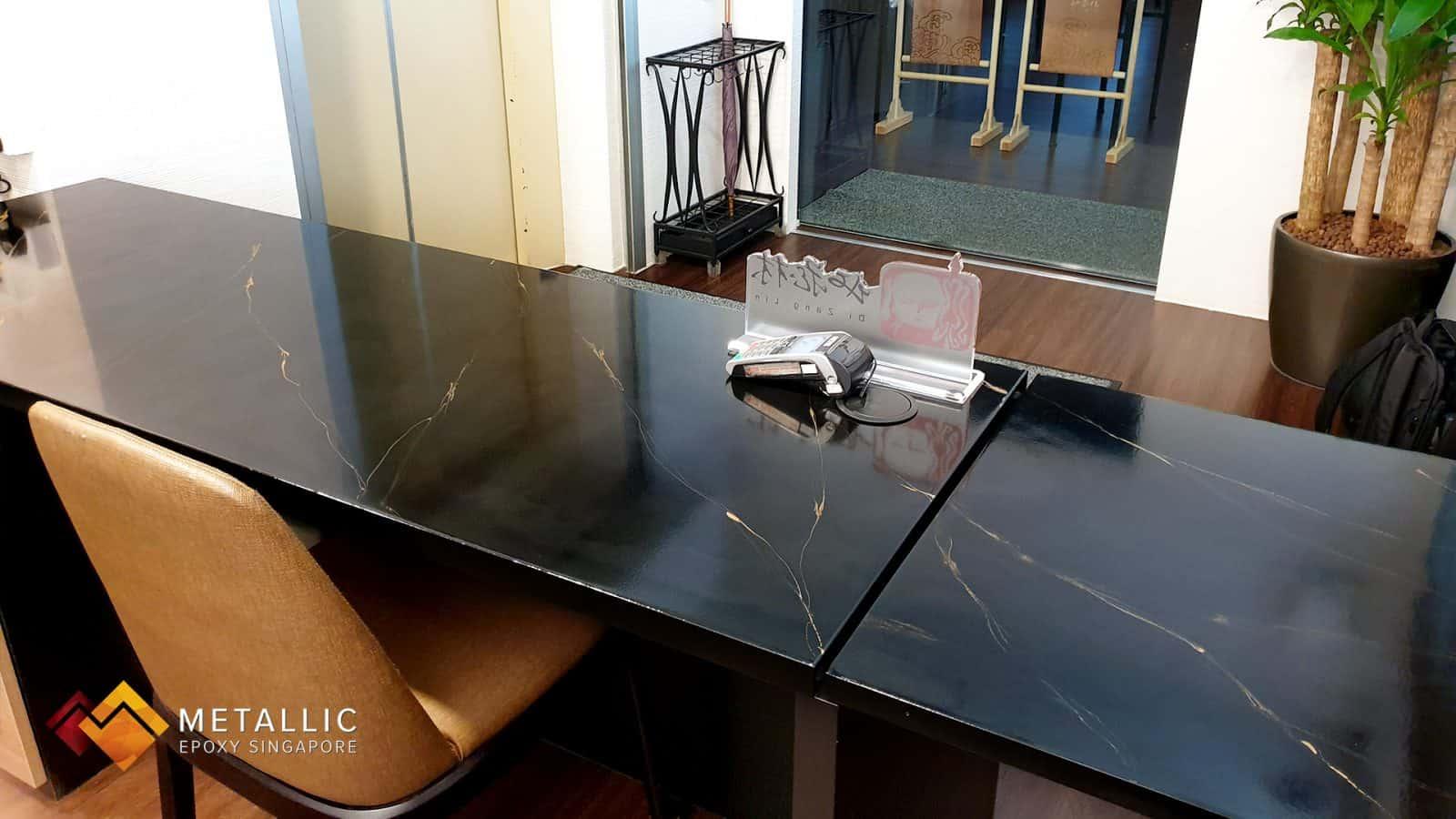 metallic epoxy office desk