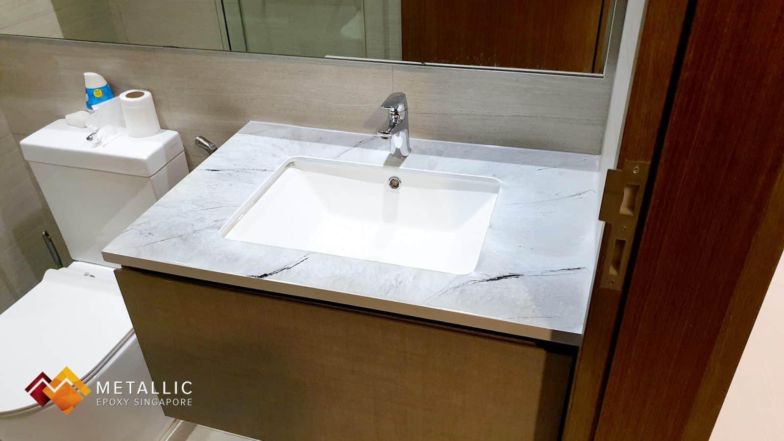 silver metallic epoxy bathroom vanity top