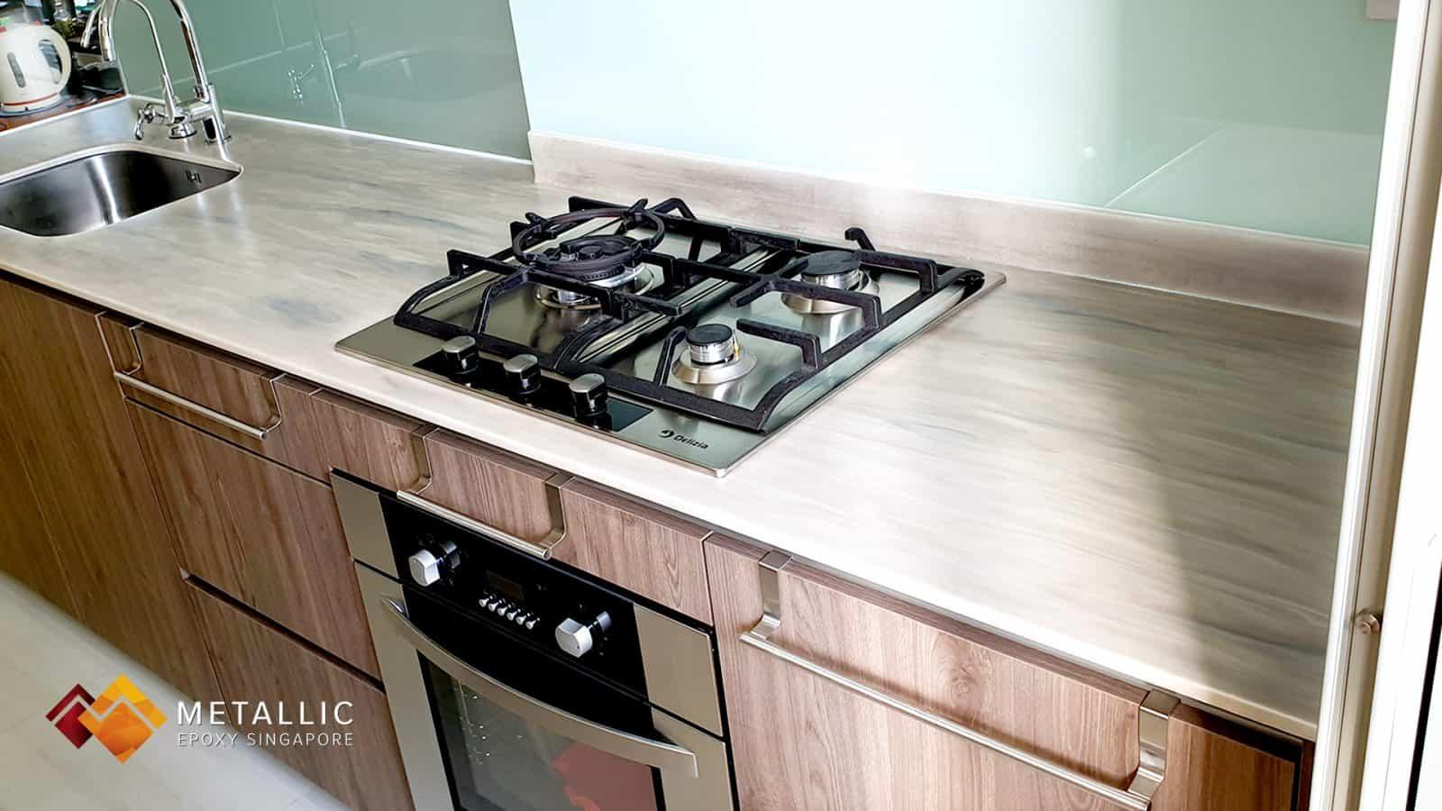 metallic epoxy wood kitchen countertop