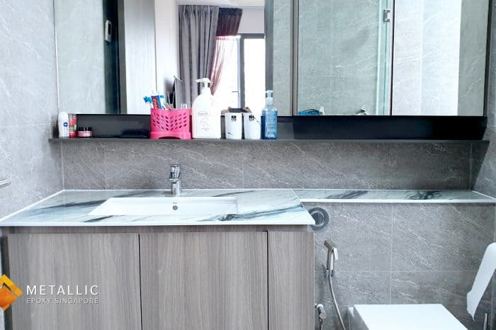 metallic epoxy bathroom vanity top gold grey silver black