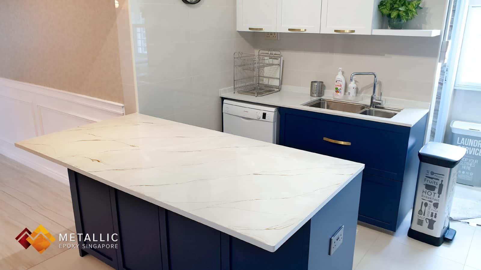 Metallic Epoxy khaki Kitchen countertop